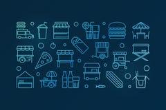Street food festival vector blue outline horizontal banner. Street market concept illustration on dark background Stock Images