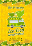 Street food festival vintage vector poster Royalty Free Stock Photo
