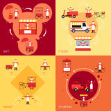 Street food flat set. Street fast food flat icons set with resell sell market trade isolated vector illustration stock illustration