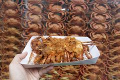 Street food fried crabs in Shanghai, China. royalty free stock image
