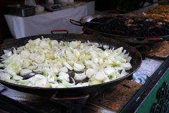 Street food. Fried onions Budapest, Hungary Stock Photos