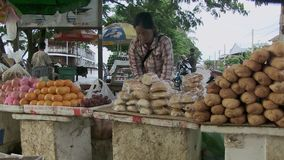 Street food, fruit , market , cambodia stock video