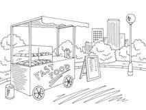 Street food graphic black white city landscape sketch illustration vector. Street food graphic black white city landscape sketch illustration vector illustration