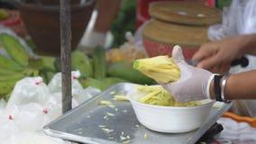 Street Food, Green Mango Papaya Salad - Som Tam stock footage