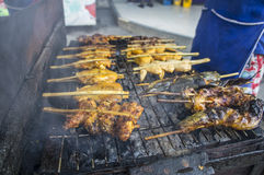 Street food grilled barbecue fish pork chicken concept Royalty Free Stock Photo