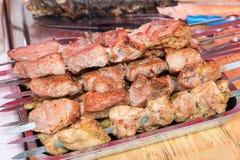 Street food - Grilled shashlik Stock Photos