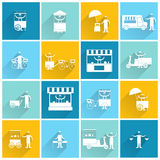 Street food icon flat white. Street fast takeout food stall and standing people icon flat white set isolated vector illustration Stock Image