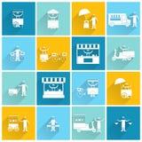 Street food icon flat white Stock Image