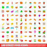 100 street food icons set, cartoon style. 100 street food icons set in cartoon style for any design vector illustration Royalty Free Stock Photos