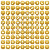 100 street food icons set gold. 100 street food icons set in gold circle isolated on white vector illustration Stock Images
