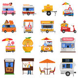 Street Food Icons Set. With hot dog grilled chicken and fresh coffee symbols flat isolated vector illustration royalty free illustration