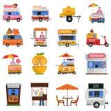 Street Food Icons Set Stock Photography