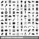 100 street food icons set, simple style Royalty Free Stock Image