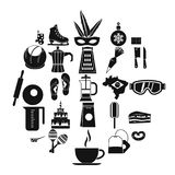 Street food icons set, simple style. Street food icons set. Simple set of 25 street food vector icons for web isolated on white background Stock Images