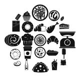 Street food icons set, simple style. Street food icons set. Simple set of 25 street food vector icons for web isolated on white background Stock Image