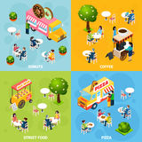 Street Food Isometric 4 Icons Square. Street food trucks and carts selling donuts coffee and pizza 4 isometric icons square abstract  vector illustration Stock Photos