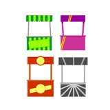 Street food kiosk. Food kiosk. Food cart stalls, kiosk icon set royalty free illustration