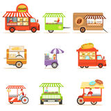 Street Food Kiosk Collection On Wheels And Without With Smiling Vendor Serving Fast Food Vector Illustrations Stock Image
