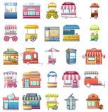 Street food kiosk icons set, cartoon style. Street food kiosk icons set. Cartoo illustration of 25 street food kiosk vector icons for web vector illustration