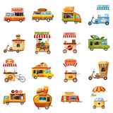 Street food kiosk icons set, cartoon style Royalty Free Stock Photos