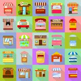 Street food kiosk icons set, flat style. Street food kiosk icons set. Flat illustration of 25 street food kiosk vector icons for web Stock Image
