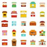 Street food kiosk vector icons set, flat style. Street food kiosk icons set. Flat illustration of 25 street food kiosk vector icons  on white background Stock Image