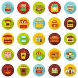 Street food kiosk icons set, flat style. Street food kiosk icons set. Flat illustration of 25 street food kiosk vector icons circle isolated on white Stock Photography