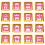 Street food kiosk icons set pink square vector. Street food kiosk icons set vector pink square isolated on white background royalty free illustration