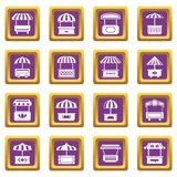 Street food kiosk icons set purple square vector. Street food kiosk icons set vector purple square isolated on white background stock illustration