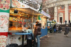 Street food kiosk with snack in Russia Stock Images