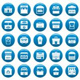 Street food kiosk vector icons set blue, simple style. Street food kiosk icons set blue. Simple illustration of 25 street food kiosk vector icons for web Stock Photography