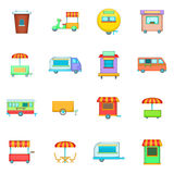 Street food kiosk vehicle icons set, cartoon style Stock Images