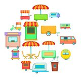 Street food kiosk vehicle icons set, cartoon style. Street food kiosk vehicle icons set. Cartoon illustration of 16 street food kiosk vehicle vector icons for Stock Image