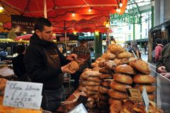 Street food in London east at Borough Market Stock Images