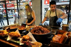 Street food in London east at Bricklane Market Stock Photos