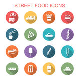 Street food long shadow icons Royalty Free Stock Images
