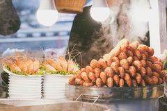 Street food market in Bangkok city