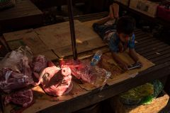 Street Food market, boy playing cellular phone close to the head of pig. Royalty Free Stock Photography