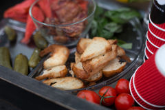 Street food market, grilled barbecue meat, picnic. Street food market. Grilled Barbecue meat, roasted toasts and vegetables, picnic, shallow depth of field Royalty Free Stock Image