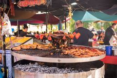 Street food at the medieval market of Valencia, Spain royalty free stock photography