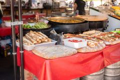 Street food at the medieval market of Valencia, Spain stock images