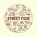 Street food minimal thin line icons set Stock Photography
