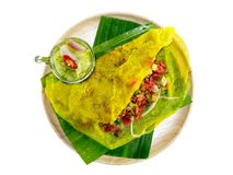 Street food name Banh xeo. Close up Street Food - Vietnamese Pancake Banh Xeo with clipping path Royalty Free Stock Images