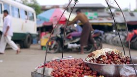 Street food. Near the road stock video footage