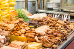 Street food at a night market in Taipei stock photography