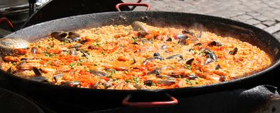 Street Food Paella. Royalty Free Stock Photo