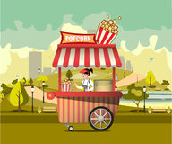 Street food with popcorn. Machine vector illustration Royalty Free Stock Image