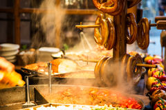 Street food and pretzels royalty free stock photo