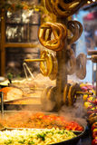 Street food and pretzels Stock Images