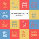 Street food retail thin line icons set. Food truck, kiosk, trolley, wheel market stall, mobile cafe, shop, tent, trade. Cart. Vector style linear icons. Symbols vector illustration